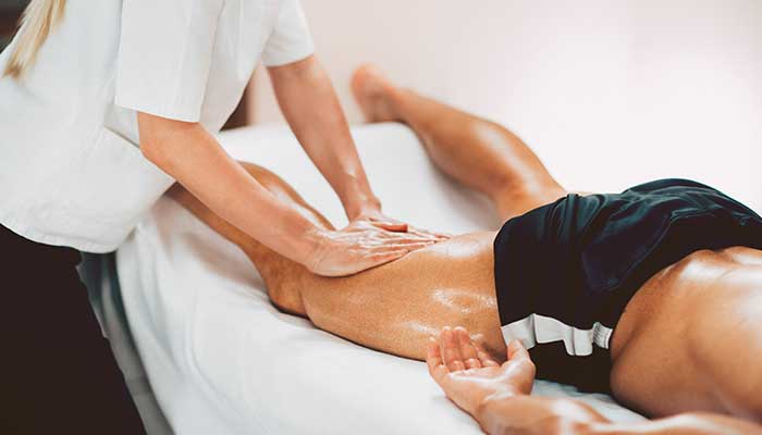 Sports massage, focus on hands